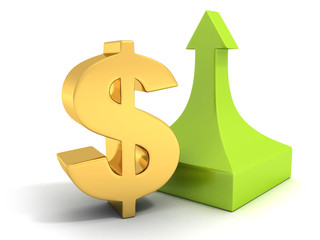 golden dollar sign with a green arrow pointing upward