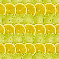 Tuinposter Plakjes fruit Abstract background with citrus-fruits slices of lemon and lime