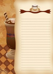 Empty blank of menu. Coffee theme.