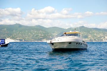 Small yacht in the sea in Portofino