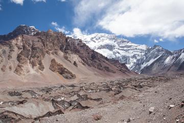 Trekking in Aconcagua National Park. Argentina.