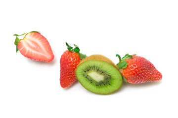 strawberry and kiwi on a white background - top view.