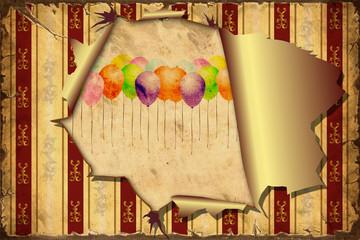 Papiers peints Affiche vintage 3D Aufgerissene Tapete - Luftballons