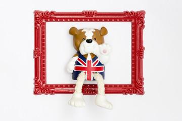English teddy bear in red frame