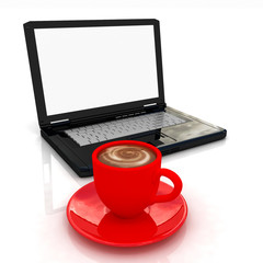 red cup of coffee with milk and  laptop on a white background