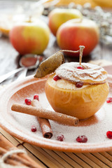 cottage cheese baked in apple with cinnamon