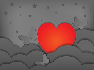 Elaegant paper heart butterflies and stars