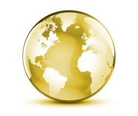 Gold globe world