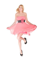 dancing  woman in pink dress