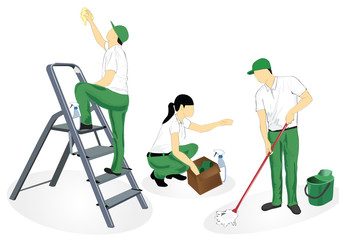 people in green uniform cleaning,working