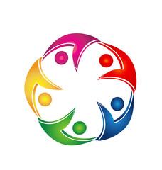 Swooshes business teamwork logo