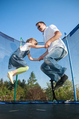 girl, daughter, father, man, jump, trampoline