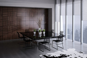 Modern Dining Room Interior with black table and chairs
