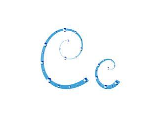 Fairy aqua alphabet. Letter C