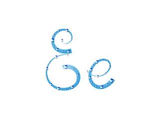 Fairy aqua alphabet. Letter E
