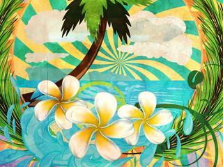 Grunge tropic island