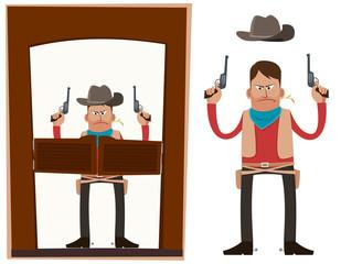 Aluminium Prints Wild West cowboy in action