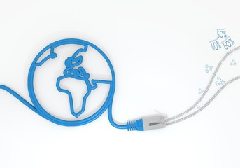 discount icon with network cable and world symbol