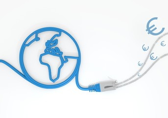 Euro symbol with network cable and world symbol