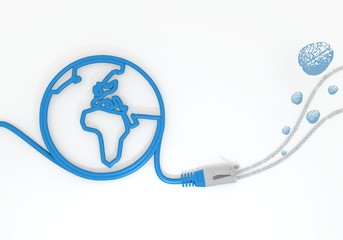 brain icon with network cable and world symbol