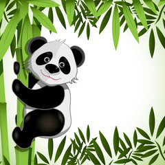 cheerful panda on bamboo