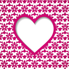a heart frame on the pink floral background