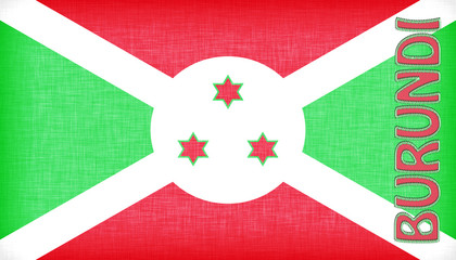 Linen flag of Burundi with letters stitched on it