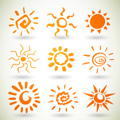 Vector Illustration of Different Abstract Suns