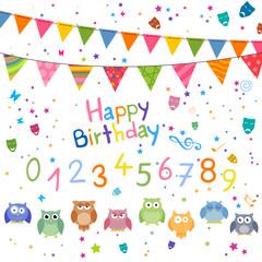 Vector Illustration of Decorative Birthday Elements