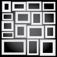 white frames black wall