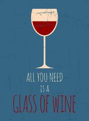 Fond de hotte en verre imprimé Affiche vintage Retro Red Wine Poster