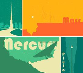 Fototapete - Retro space sci-fi posters