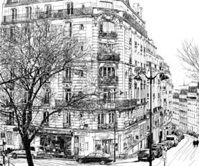 Canvas Prints Art Studio Paris under the first winter snow