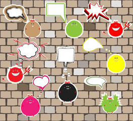 cute monsters on a brick wall. vector