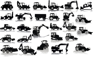 Set of 26 silhouettes of a tractors of road service