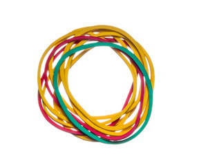 colored rubber bands on a white background, isolated
