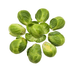 Keuken foto achterwand Brussel group of healthy brussel sprouts on a white background