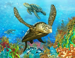 Printed roller blinds Submarine The coral reef - illustration for the children