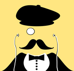 retro man with earphones and monocle