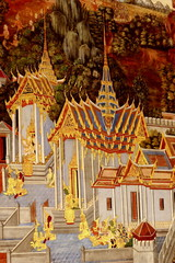 The old wall in buddhist 's church, Thailand.