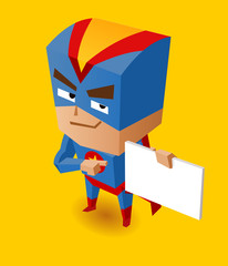 Canvas Prints Superheroes Superhero with sign board