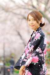 young girl in japan kimino dress