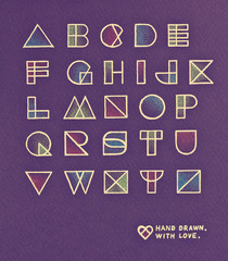 Vintage pop art style alphabet design. Pencil hand drawn