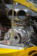 Wall Mural - blower supercharger in a dragster engine bay