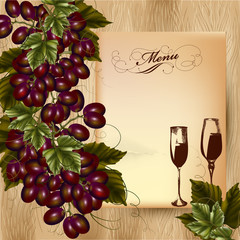 Elegant menu design for restaurant with cluster of grapes and wi