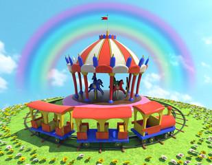 Fotorolgordijn Regenboog cavalli trenino ed arcobaleno 2