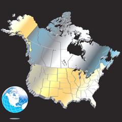Metal North American Map