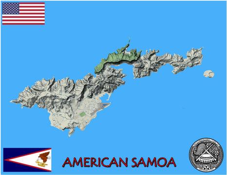 American Samoa oceania pacific national emblem map symbol motto