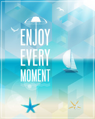 Wall Mural - Seaside view poster. Vector background.