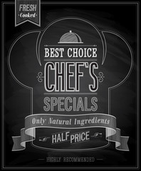 Wall Mural - Chef`s specials Poster - Chalkboard. Vector illustration.